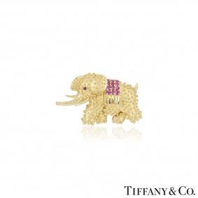 Tiffany & Co. Yellow Gold Ruby Elephant Brooch